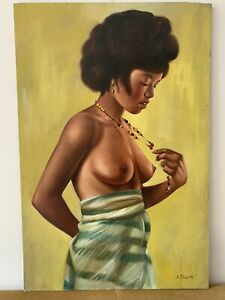 1960's Large African American Nude Painting on Canvas