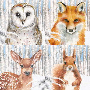 4x MIXED/Single Paper Napkins/3 Ply/Decoupage/Winter Animal Collage/Fox/Deer/Owl