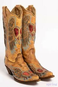 Women's Mid Calf Cowboy Pointy Toe Boots Chunky Heels Biker Embroidery Booties