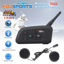 Bluetooth Intercom Motorcycle Helmet V4 Headset Interphone 1200 Support 4 Riders