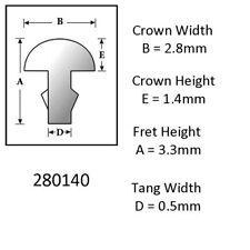 Sintoms 18% Nickel Silver Fret Wire 2.8mm. Set of 12 pieces