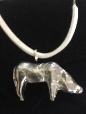 """Wild Boar TG74 Fine English Pewter On 18"""" White Cord Necklace"""