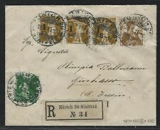 1915 Switzerland Registered Cover - Zürich to Giubiasco - Sc #130, #157, #186