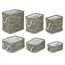 Truu Design Rectangular Paper Straw Fabric Storage Baskets Green
