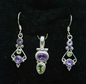 Gorgeous Sterling Silver Amethyst and Peridot Drop Dangle Earrings & Pendant Set