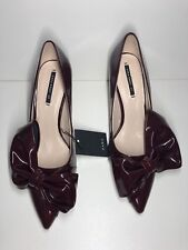 fe746e6f798 Zara Burgundy Faux Patent Court Stilleto Heel Shoes With Bow UK 4 37