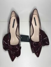 Zara Burgundy Faux Patent Court Stilleto Heel Shoes With Bow UK 4 37