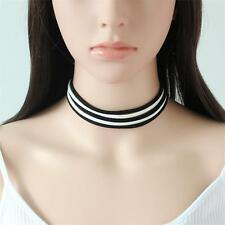 Gothic Punk Multi-layered Black&White Suede Choker Necklace Sexy Women Jewellery