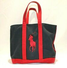 Ralph Lauren Polo Tote Bag Purse Canvas Navy Red Big Pony Embroidery