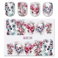 2X Punk Pattern Nail Art Water Decal Stickers Flowers Skull Head  Design BN-189