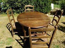 TABLE ANCIENNE OVALE TRES BON ETAT + 6 CHAISES EN PAILLE