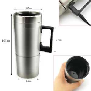 0.3L 12V Car Electric Heated Hot Water Kettle Bottle Cup Stainless Steel Pretty