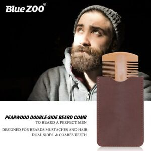 Peach wood beard care combs with PU case two sides tooth wooden combs brushes
