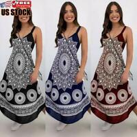 US Women's Summer Floral Long Dress Ladies V Neck Boho Beach Holiday Maxi Dress