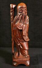 Retro Asian Carved Wood Cheery Monk Figurine w Walking Stick 8x2 Inch EXC