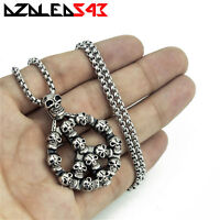 Men's Gothic Silver Skull Peace Sign Stainless Steel Pendant Chain Necklace Set