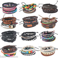Handmade Womens Girl Fashion Wooden Beads Leather Multilayer Bracelet Adjustable