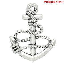 12 Silver Tone Small ANCHOR Charms Pendants chs1151