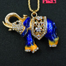 Betsey Johnson Blue Rhinestone Enamel Elephant Pendant Chain Sweater Necklace