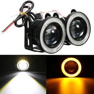 "2PCS 12V 3"" LED Fog Light Round Amber Angel Eye Halo Lamp For Cars SUV Universal"