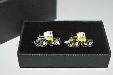 Yellow JCB Fastrac Tractor Cufflinks Gift Boxed Gift Wedding Accessorie Enamel