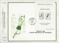 FEUILLET CEF 1er JOUR MONACO COUPE MONDIALE DE FOOTBALL MEXICO 1986