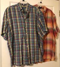 TWO Alan Flusser 100% Cotton Bright Plaid Button Down Short Sleeve Shirts XL