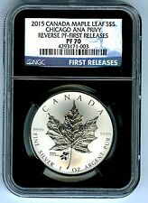 2015 $5 CANADA 1OZ SILVER NGC PF70 CHICAGO ANA PRIVY REVERSE PROOF MAPLE LEAF FR