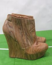 """new Wood color 5.5""""high  wedge heel 1.5"""" platform ankle sexy boots Size. 7.5"""