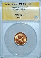1954 D/D/D ANACS MS65RD Red FS-501 (FS-021.76) RD Lincoln Cent