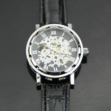 Gift Classic Men's Black Leather Dial Skeleton Mechanical Sport Army Wrist Watch