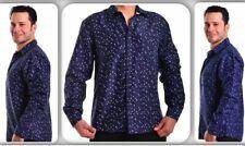 Caviar Dremes Men Long/Sleeves Button-Down Dress Shirt stars navy Blue ID-1024