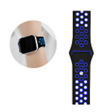 Bracelet Silicone Compatible With Apple Watch Series 3 42-1 23/32in Black Blue