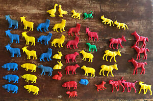 Lot of 46 Vintage Plastic Toy Farm Animals Red Yellow Blue Sheep Dog Goat Pig