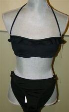NEW BCBG Max Azria Ruffle Bikini Halter Top M & Bottom Black S #38581