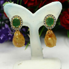 NATURAL 10X14mm. GOLDEN WITH RUTILE QUARTZ, EMERALD & TOPAZ EARRINGS 925 SILVER