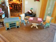 Fisher Price Loving Family Dollhouse Dining Room Table Chairs Buffet Set Food