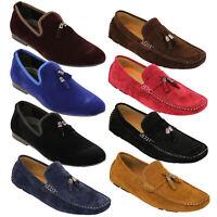 Mens Moccasins Suede Look Shoes Slip On Boat Driving Loafers Tassel Belide Smart