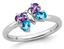 Amethyst And Blue Topaz Butterfly Ring in Sterling Silver