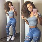 Women High Waist Jean Elastic Skinny Pencil Pant Ripped Denim Boyfriend Trousers