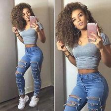 Damen Jeans Frayed Ripped Stretch Hose Röhre Skinny Leggings Leggins Stoffhose