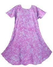 Purple Women Batik Caftan Tunic Tank Long Dress Cover Up Plus Sz 1X 2X 18 20
