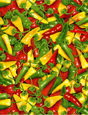 Red, Green & Yellow Chili Peppers-Timeless Treasures-Hot Peppers-Fat Quarter