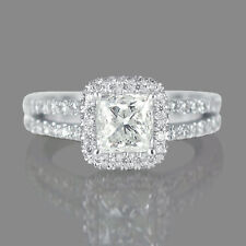 Real 14K White Gold Princess Cut Enhanced Diamond Engagement Ring 1.65 CT F/SI2