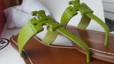 Tory Burch Palm Green Flat Moore 2 Tong Ladies Leather Sandals with rubber sole.