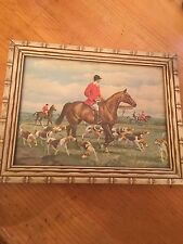 Vintage Wooden Wood Framed English Fox Hunt Print Picture Frame