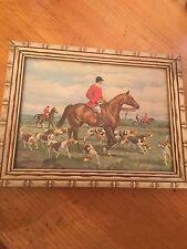 Vintage Wooden Wood Framed English Fox Hunt Print Picture Frame