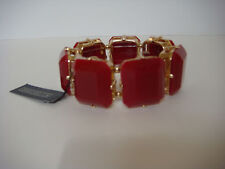 R.J. Graziano Resin Stretch Bracelet Red and Gold New