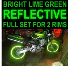 """NINJA LIME GREEN 3M REFLECTIVE RIM STRIPES WHEEL DECALS TAPE STICKERS SAFETY 17"""""""