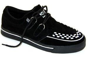 T.U.K  A6293 TUK Wildleder Black/White Leather 2-Ring Creeper-Sneaker Rockabilly